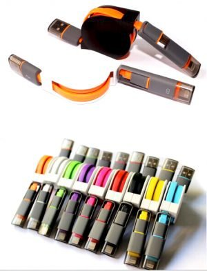 2-in-1 Retractable USB Charging Cable