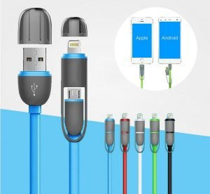 2-in-1 Chager Cable for Apple 8-pin Lightning & Micro USB Adapter