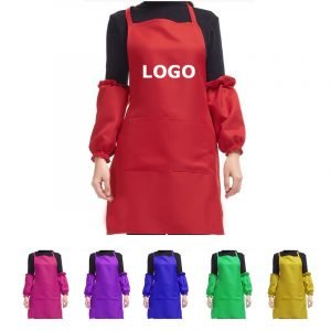 100% polyester apron with pocket